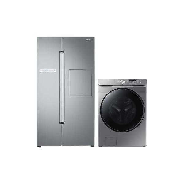 [삼성] 양문형냉장고 프리스탠딩 815L 실버 리얼메탈 + 세탁기 21Kg 실버